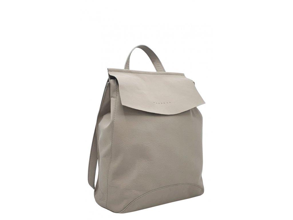 Kožený batoh Kenny světle šedý hladký