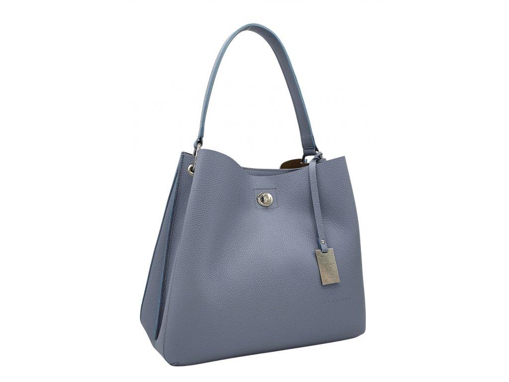 Kožená kabelka přes rameno NOEMI šedo-modrá oboustranná