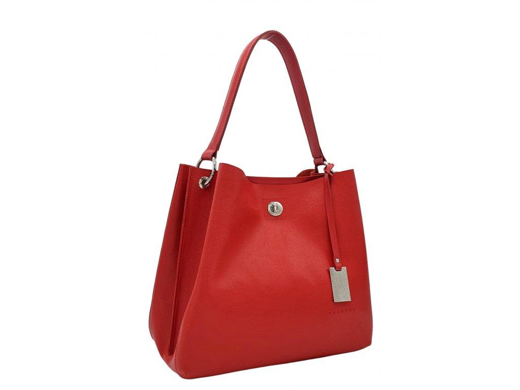 Kožená kabelka přes rameno NOEMI červená