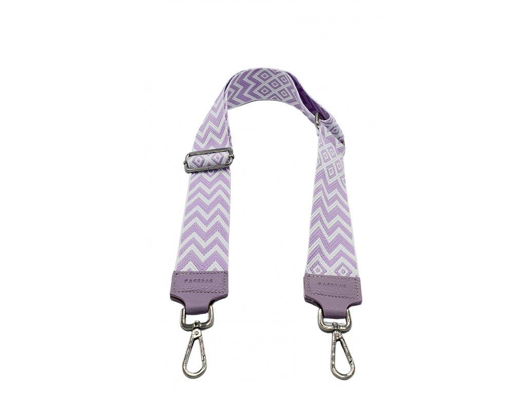 Látkový popruh ke kabelce fialovo-bílý