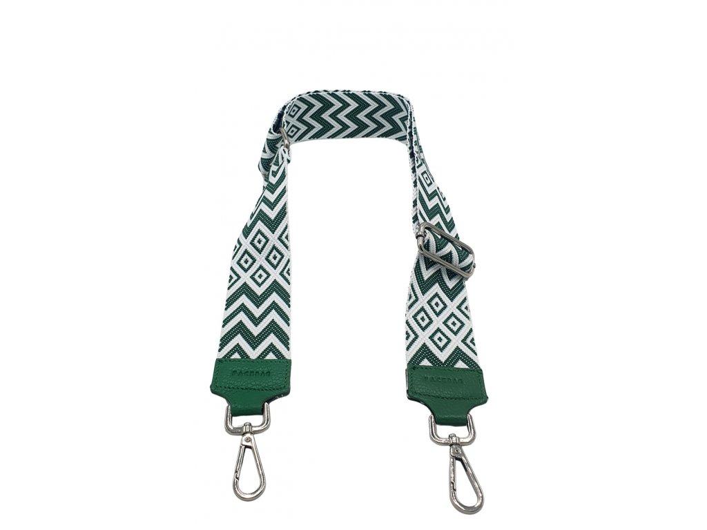 Látkový popruh ke kabelce zeleno-bílý