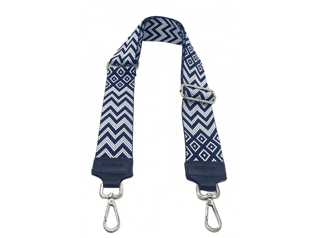 Látkový popruh ke kabelce modro-bílý
