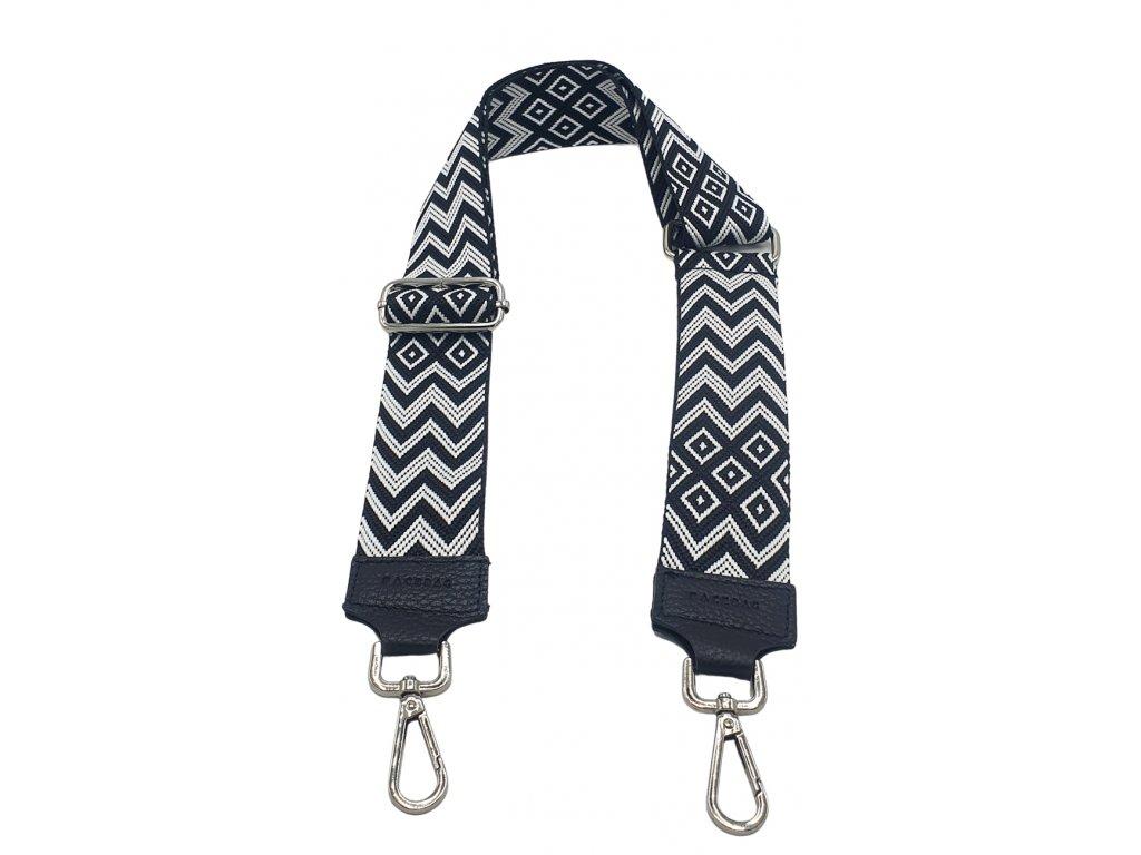 Látkový popruh ke kabelce tmavě modro-bílý