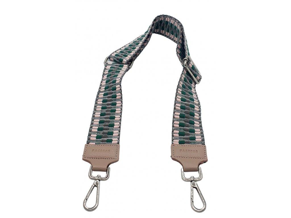 Látkový popruh ke kabelce zeleno-béžový