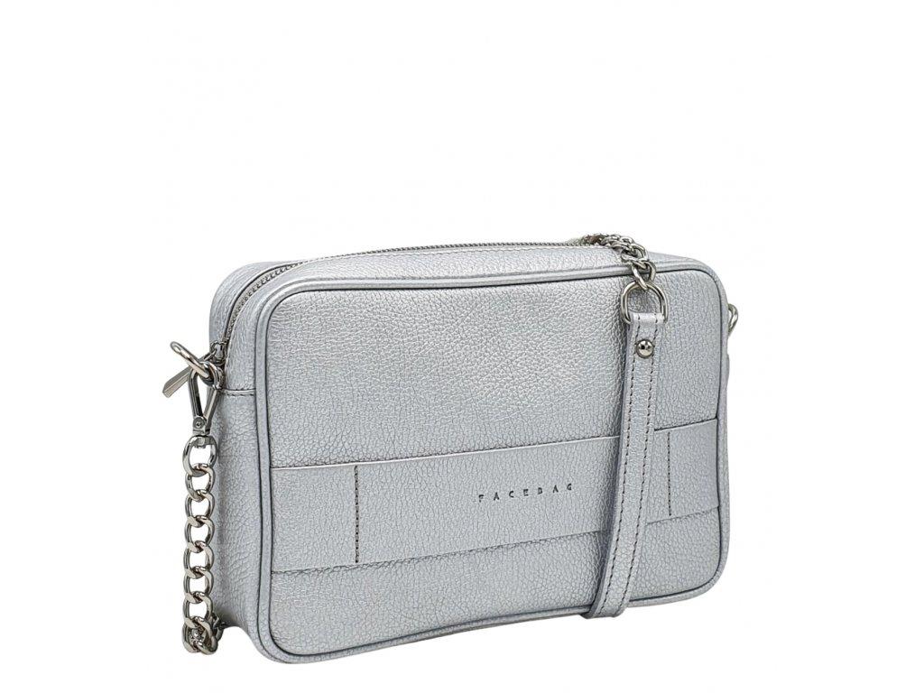 Kožená kabelka Nina stříbrná dolaro