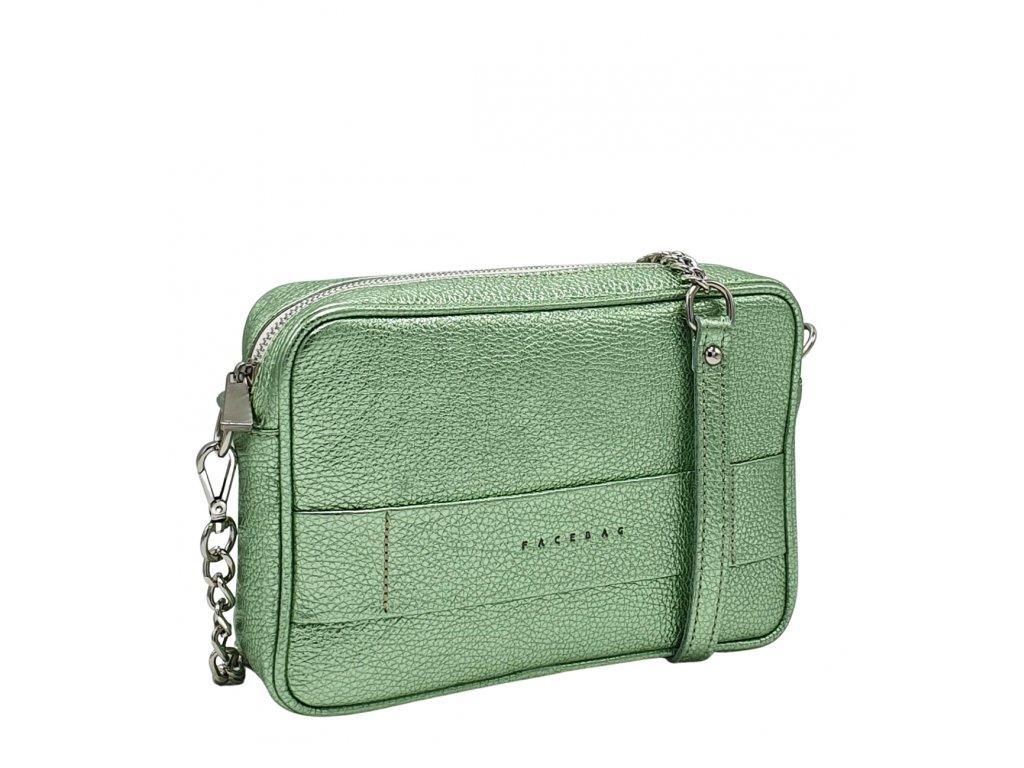 Kožená kabelka Nina metalická zelená dolaro