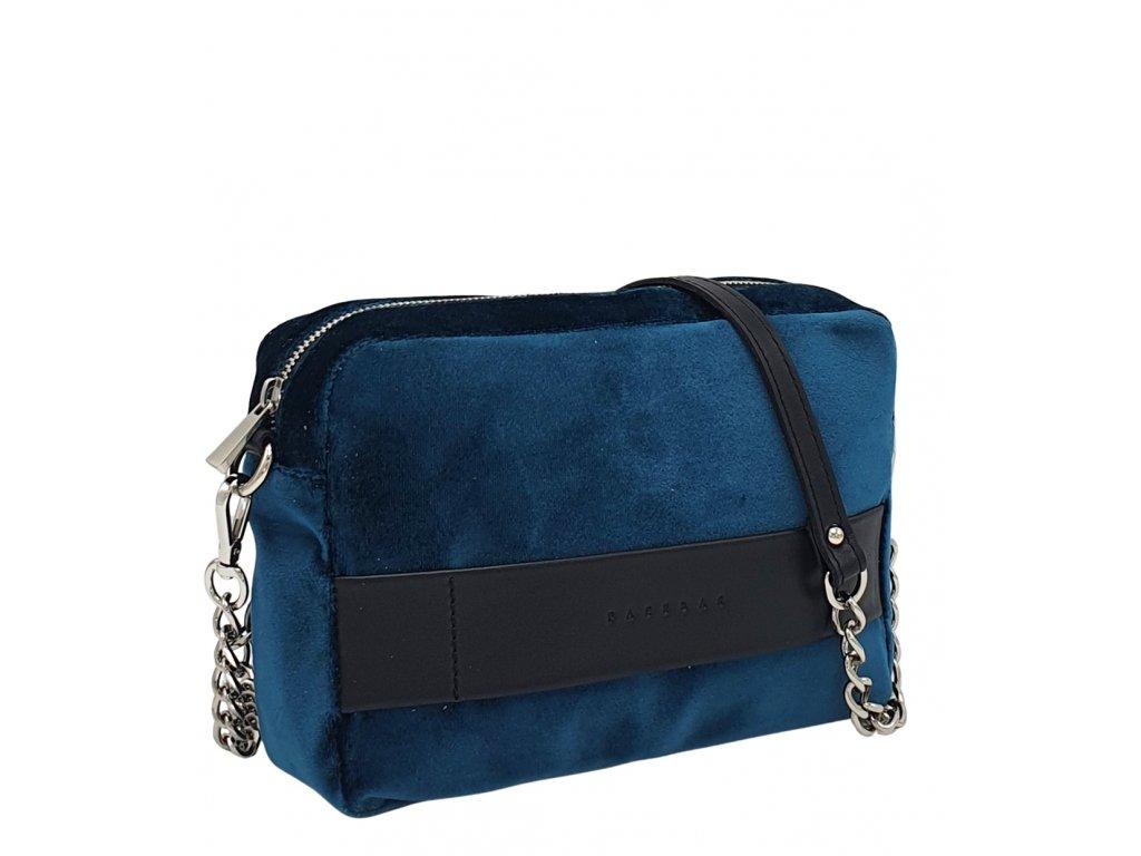 Polokožená kabelka Nina tyrkysovo-černá