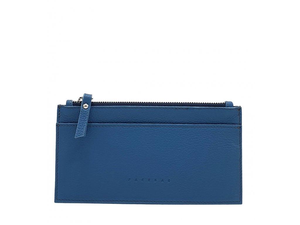 Kožená peněženka NORA modrá oboustranná
