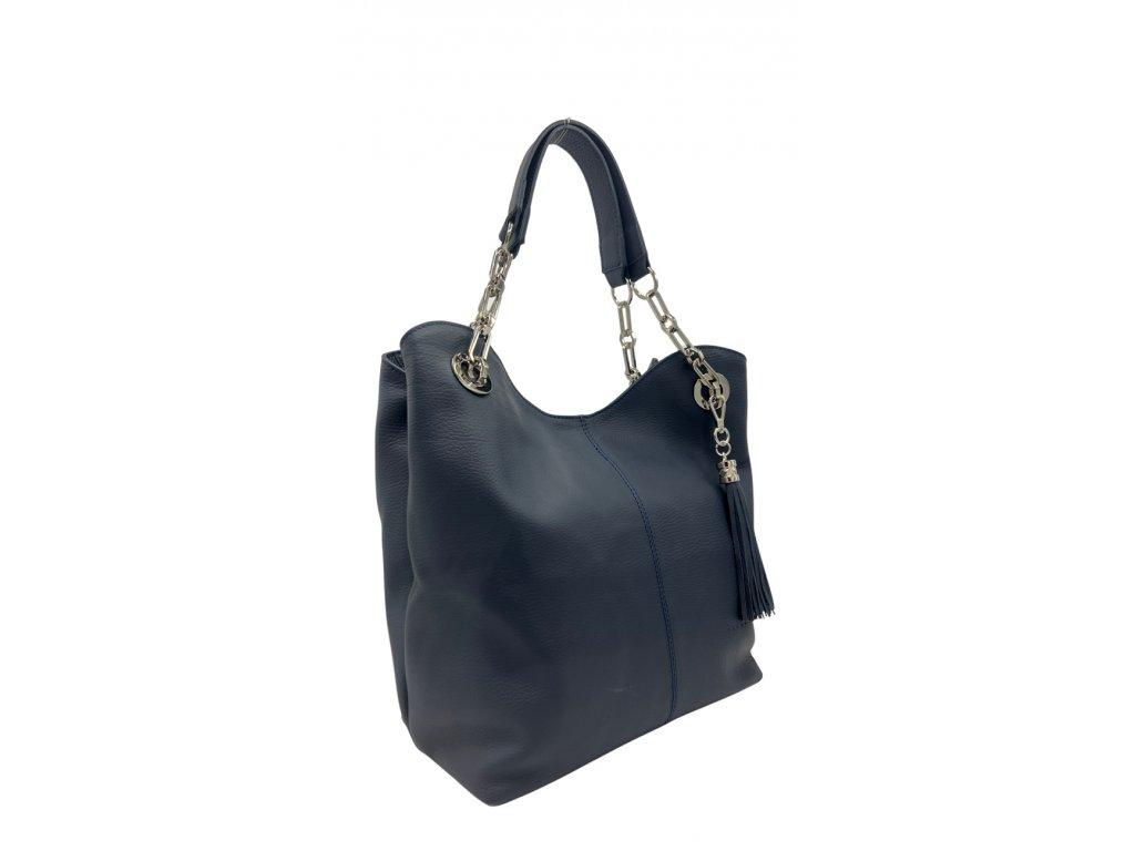 Kožená kabelka Agata tmavě modrá
