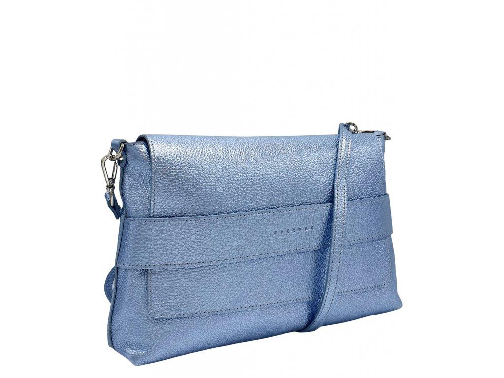 Kožená crossbody kabelka Fille modrá metalická