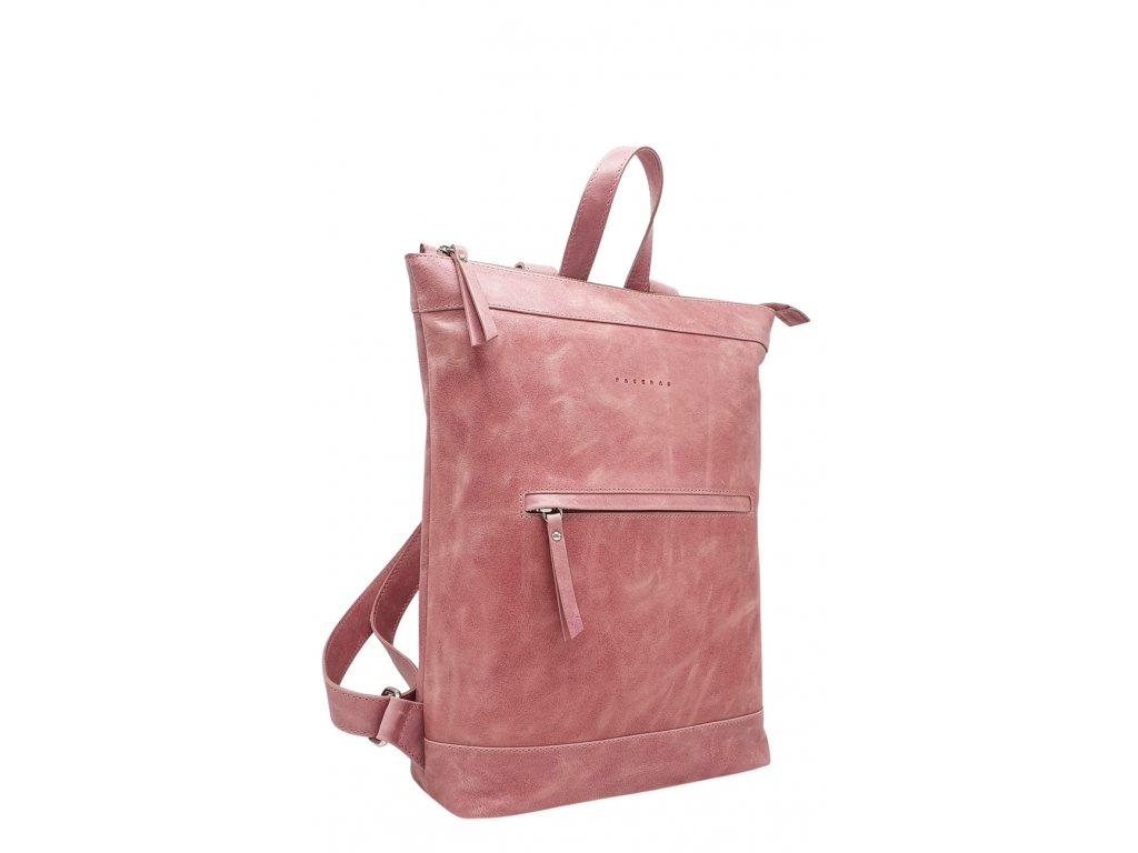 Kožený batoh Lucien růžový vintage