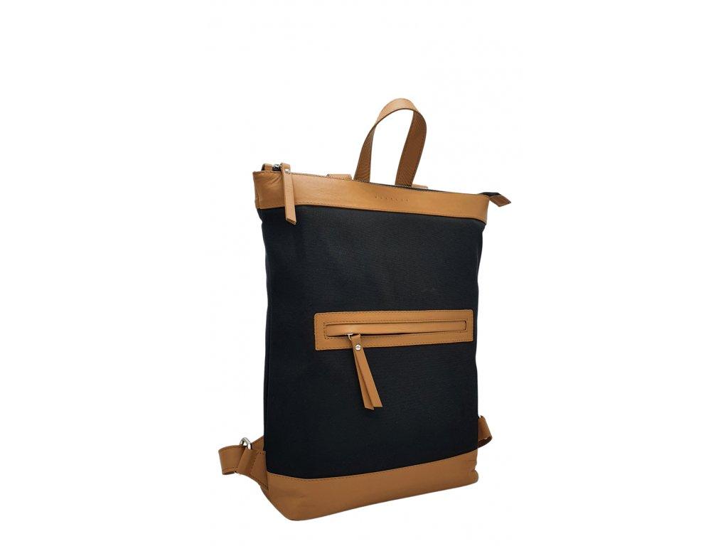 Polokožený batoh Lucien černo-hnědý