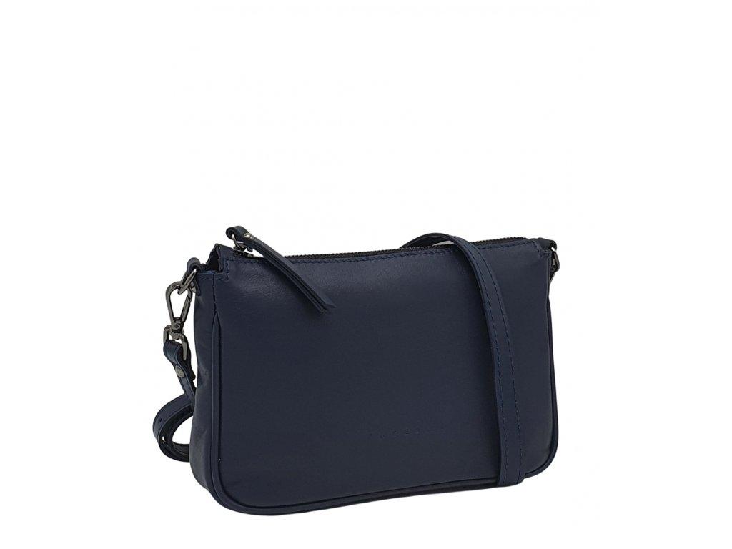 Kožená kabelka GIADA tmavě modrá hladká