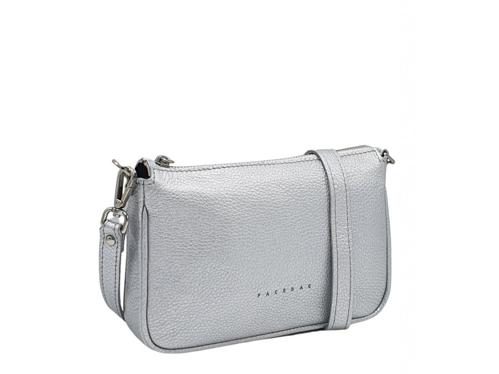 Kožená kabelka GIADA světle stříbrná