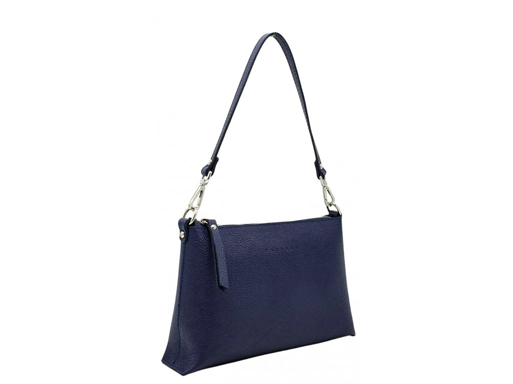 Kožená kabelka Chiara tmavě modrá oboustranná