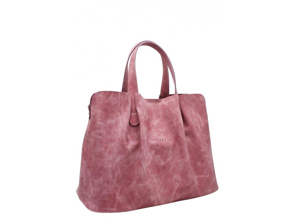 Kožená kabelka SILVIA růžová vintage