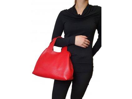 Kožená kabelka do ruky červená (1)