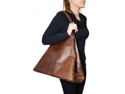 Kožená kabelka se srstí + černá hladká 7033 Meda (3)