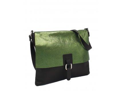 Kožená kabelka Lucy hnědá se zelenou
