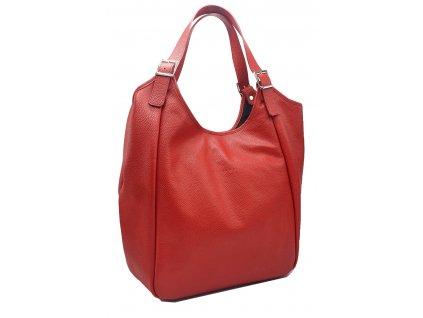 Kožen kabelka červená MANA (2)