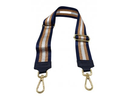 Látkový popruh ke kabelce modro-bronzový pruhovaný