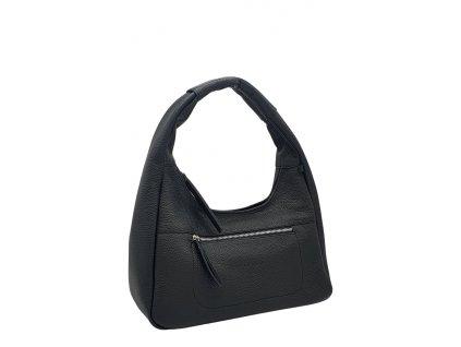 Kožená kabelka přes rameno LYSE černá se stříbrným kováním