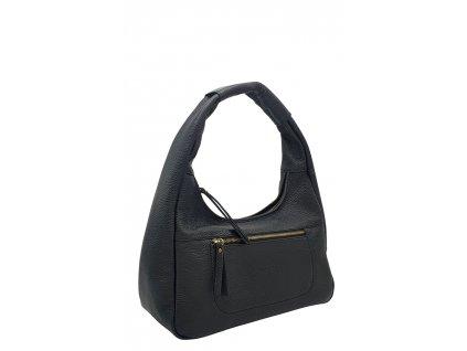 Kožená kabelka přes rameno LYSE černá s mosazným kováním