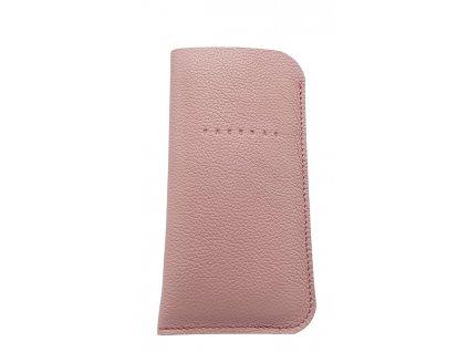 Kožené pouzdro na mobil růžové