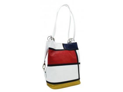 Kožená kabelka přes rameno HERTA bílo-modro-červeno-žlutá