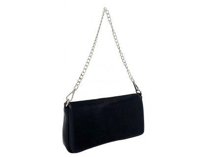 Kožená kabelka BRITA černá se srstí