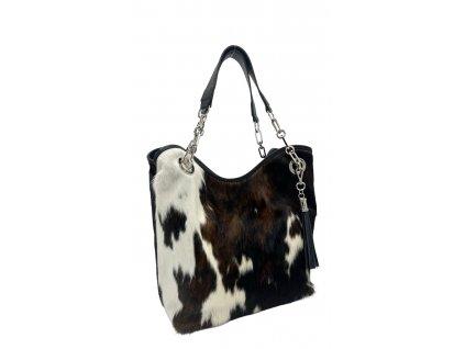 Kožená kabelka Agata černá se srstí