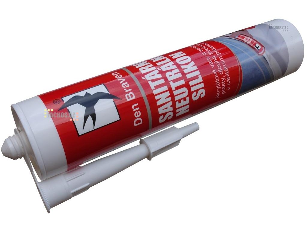 Den Braven Neutrální sanitární silikon, barva bílá, kartuš 280ml