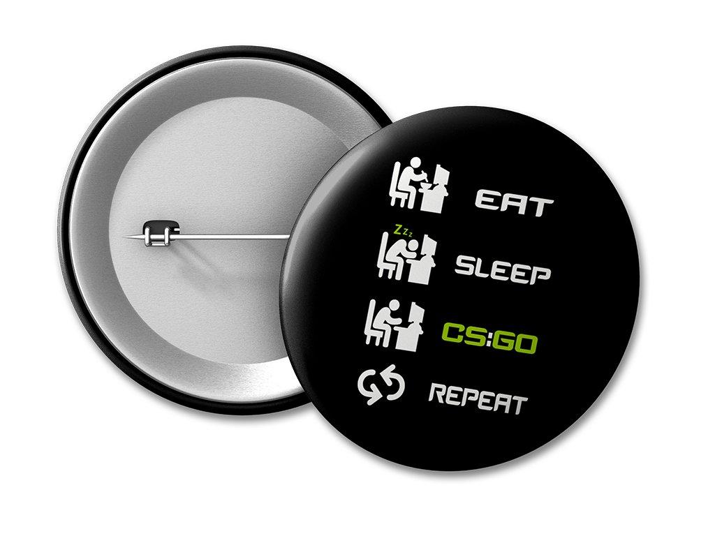 Placka Eat Sleep CS:GO Repeat (černá)