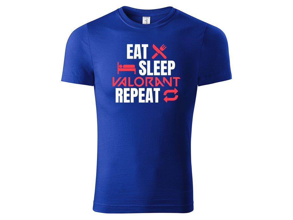 Tričko Eat Sleep Valorant Repeat modré