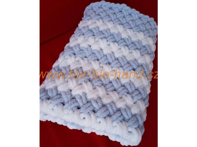 dětská deka pletená  šedobílá