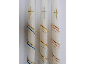 křestní svíčka s ozdobnými pásky