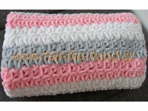 Háčkovaná dětská  deka šedobílorůžová