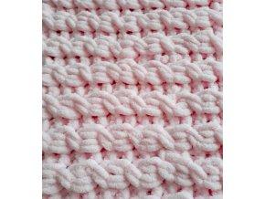 dětská deka pletená  růžová copánková