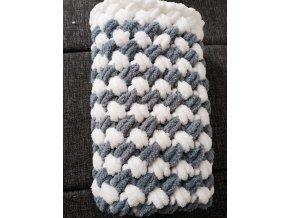 dětská deka pletená  tmavošedobílá