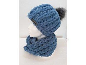 čepice s nákrčníkem modrá