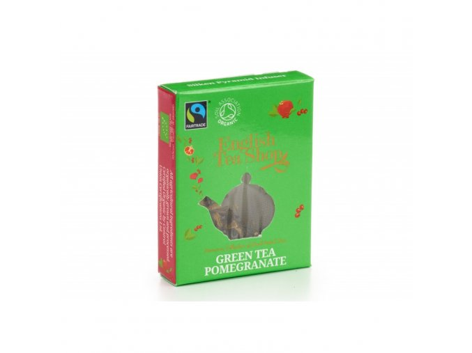 bio a fairtrade zeleny caj s granatovym jablkem pyramidka