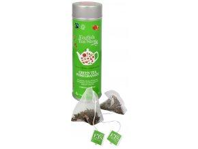 zeleny caj s granatovym jablkem plechovka s 15 bioodbouratelnymi pyramidkami