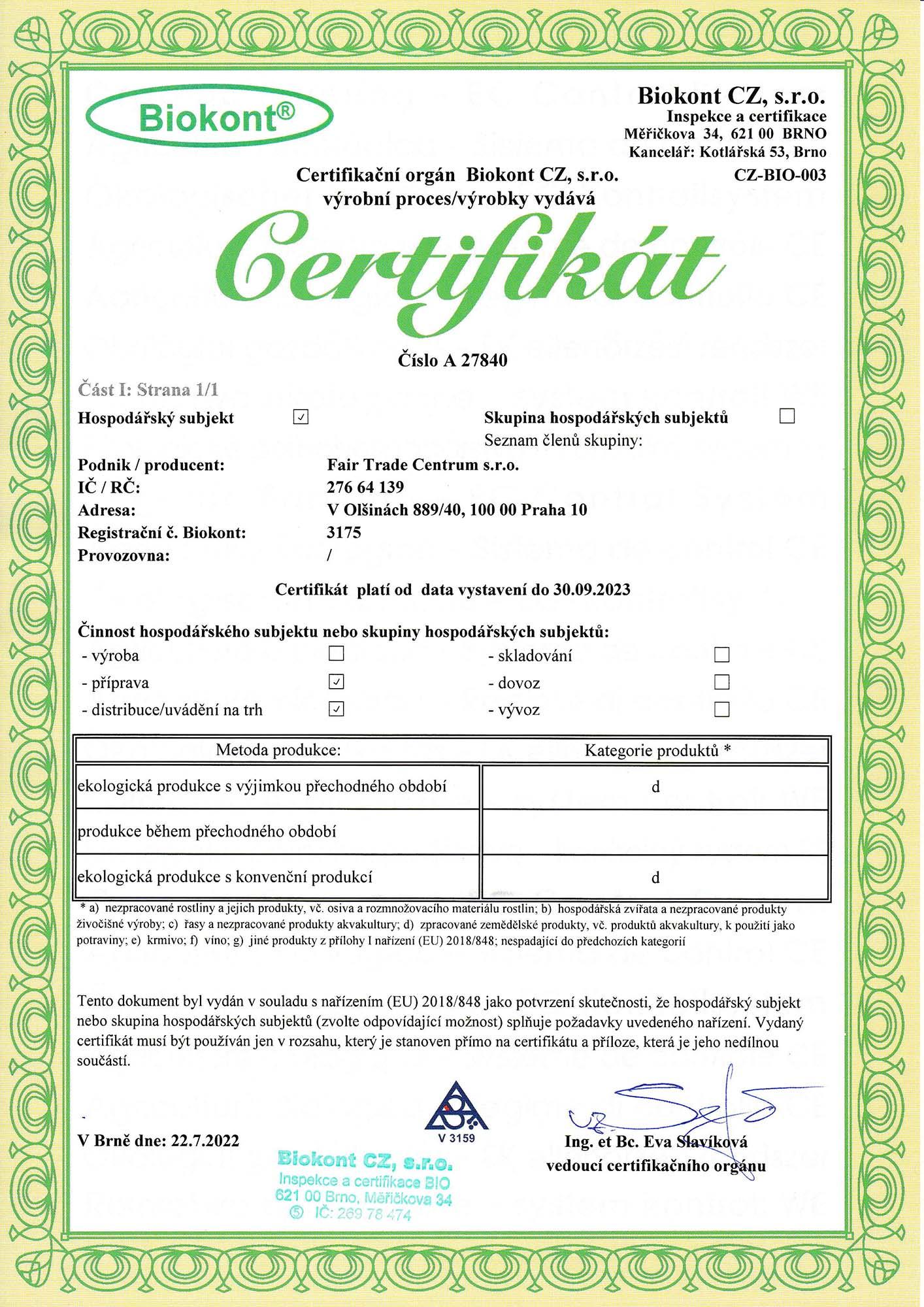 Certifikát Biokontu Fair Trade Centrum