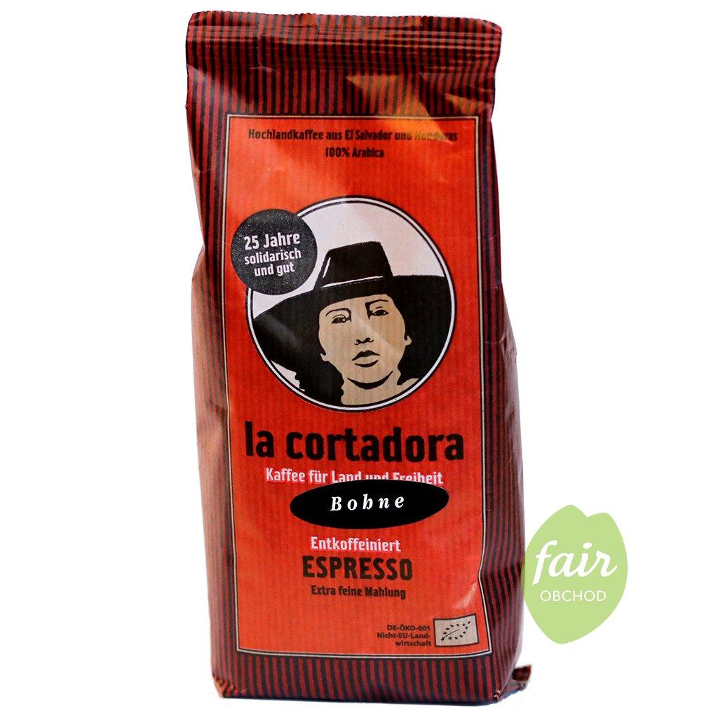 fair trade bio zrnkova kava bez kofeinu la cortadora 200g