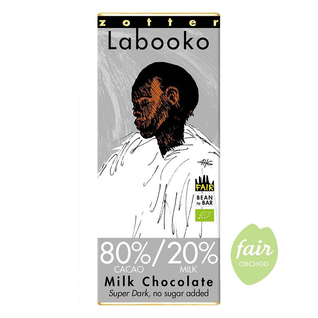 Fair trade bio mléčná čokoláda Zotter s 80 % kakaa a 20 % mléka