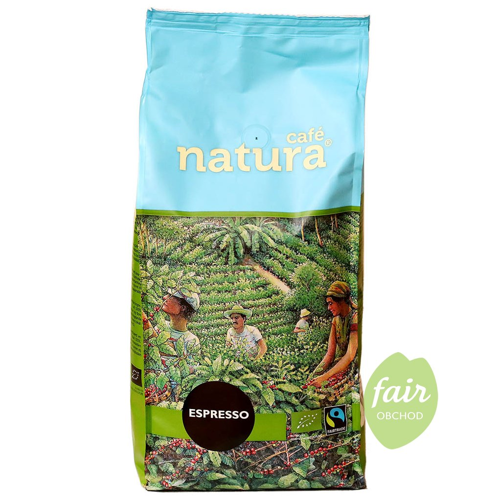 fairtrade bio zrnkova kava natura espresso 1000g