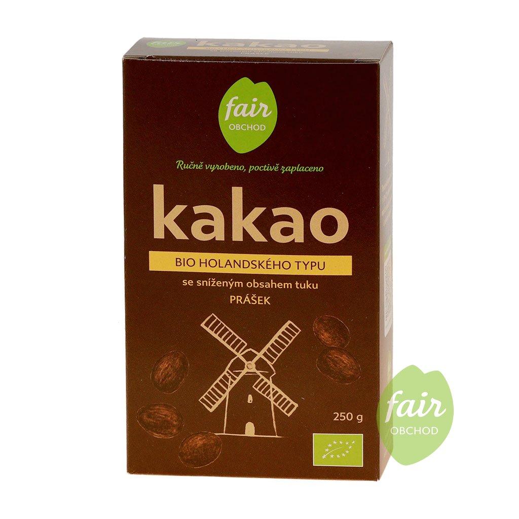 Fair trade bio kakaový prášek alkalizovaný, snížený obsah tuku, 250 g