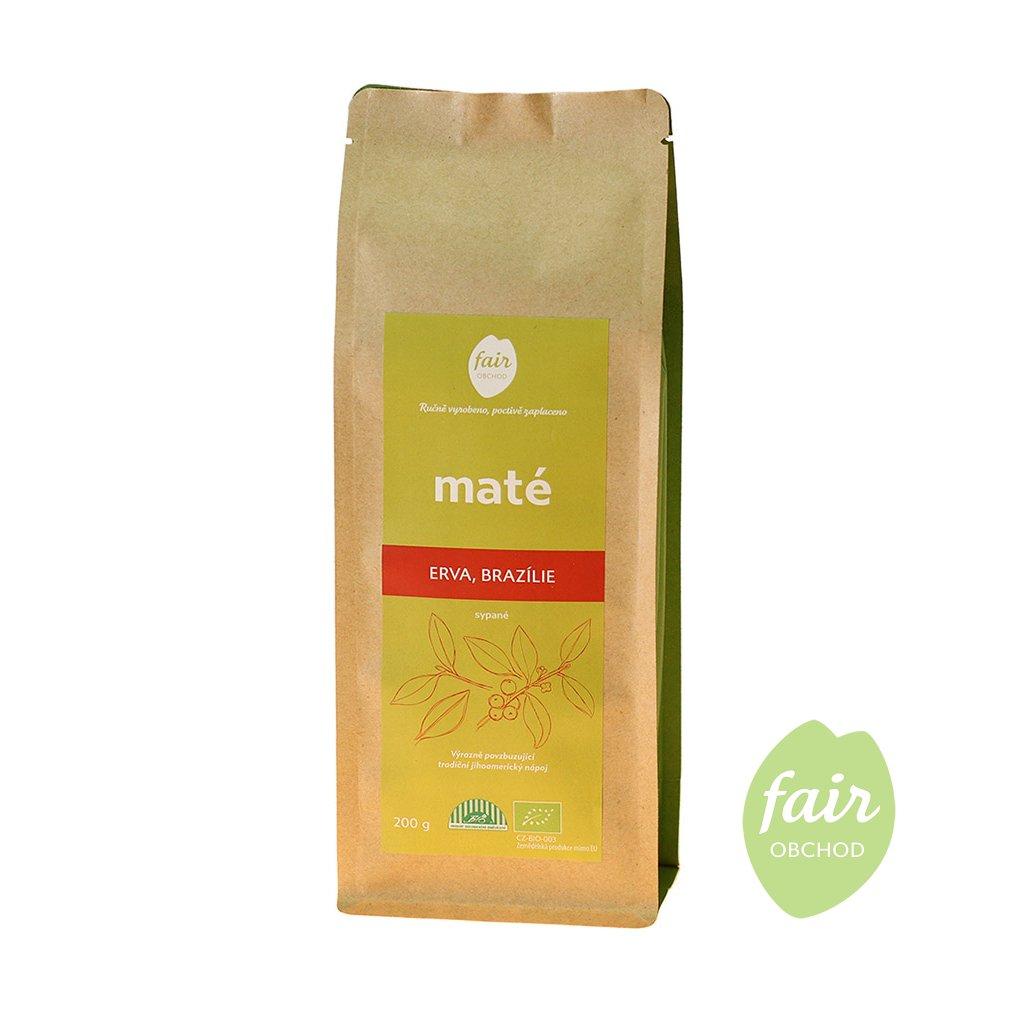 Fair trade erva yerba bio maté sypané z Brazílie, 200 g