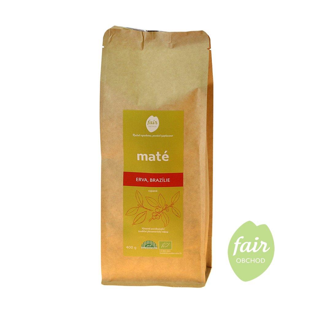 Fair trade erva yerba bio maté sypané z Brazílie, 400 g