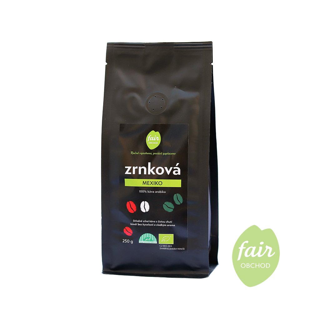 Fair trade bio zrnková káva Mexiko, 250 g